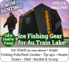 ice fishing rentals Au Train Lake, MI